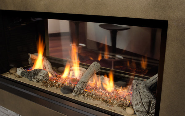 Valor Direct Vent L1 Linear Series 2-Sided Gas Fireplace - Driftwood Set