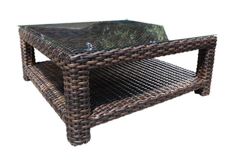 Louvre Deep Seat Square Coffee Table by Cabana Coast - Espresso Flat