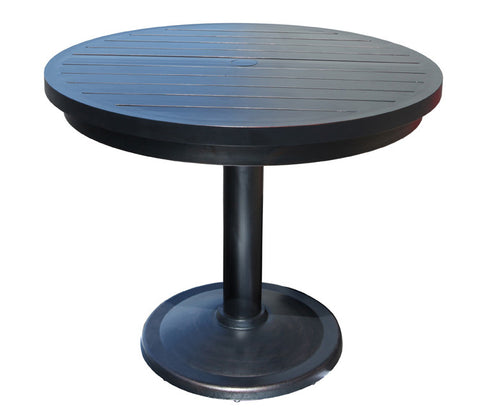 "Monaco Counter Height Table by Cabana Coast - 30"" Round Pedestal Table - Dark Rum"