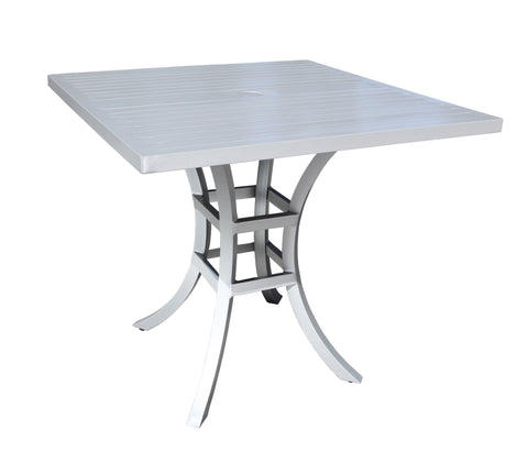 "Monaco Bar Table by Cabana Coast - 36"" Square Table - Silver"