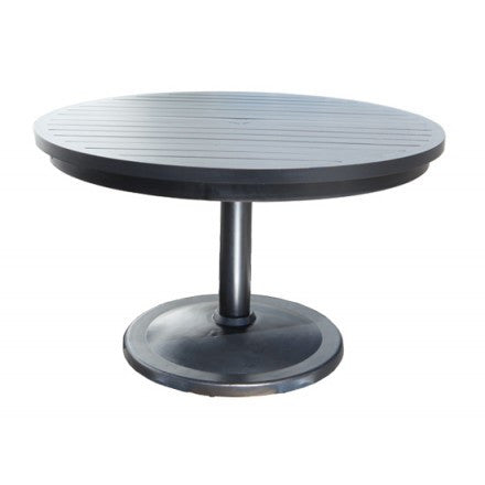 "Cabana Coast 56"" Round Pedestal Table = Dark Rum"