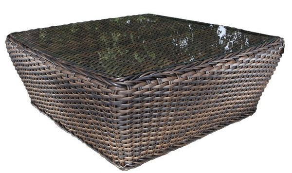 "Cabana Coast Nevada 41"" Square Coffee Table - Espresso Wicker"