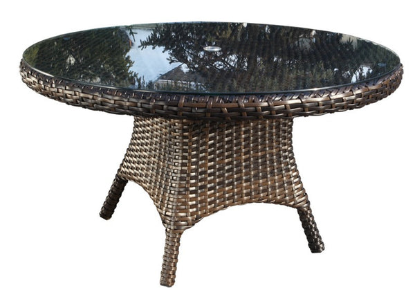 "Cabana Coast 54"" Round Dining Table With Glass - Espresso"