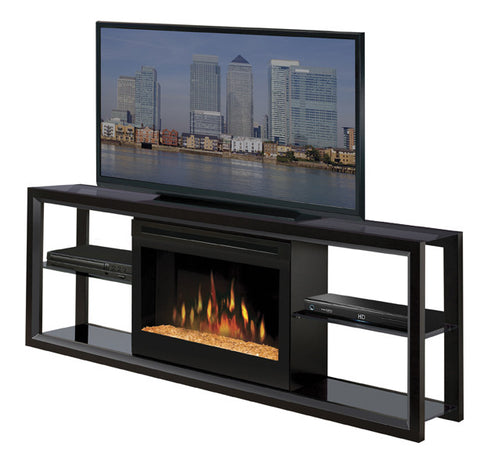 Dimplex Novara Media Console Electric Fireplace Black With Glass | Patio Palace