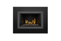 Napoleon Gas Fireplace Insert - Oakville Glass with Small 4-Sided Gun Metal Faceplate