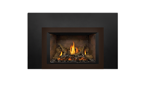 Napoleon Gas Fireplace Insert - Oakville X3 with Small 4-Sided Copper Faceplate