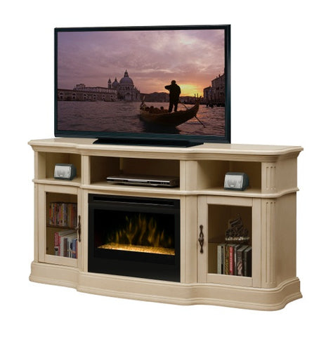 Dimplex Portobello Media Console Parchment Electric Fireplace With Glass | Patio Palace