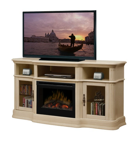 Dimplex Portobello Media Console Parchment Electric Fireplace With Log Set  | Patio Palace