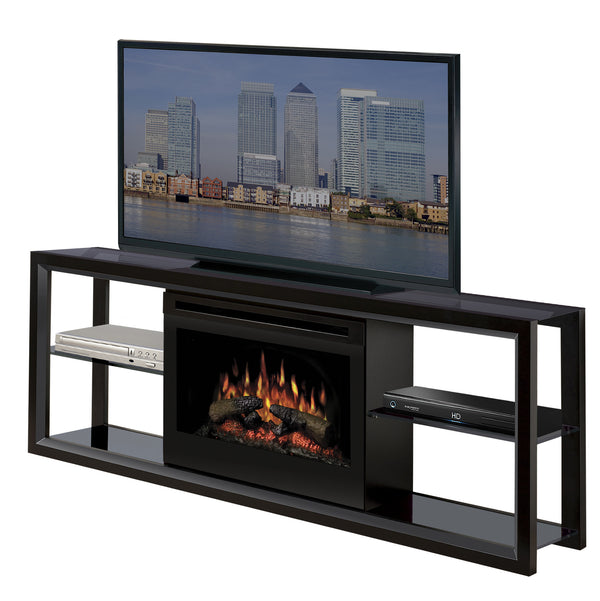 Dimplex Novara Media Console Electric Fireplace Black With Log Set | Patio Palace
