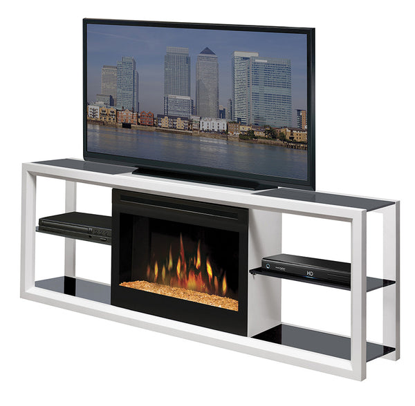 Dimplex Novara Media Console Electric Fireplace White With Glass | Patio Palace