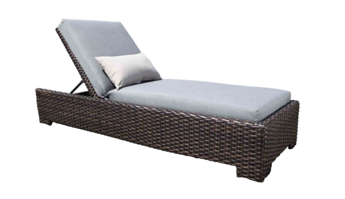 Round Folding Dining Table, Louvre Wicker Chaise Lounge By Cabana Coast Patio Palace
