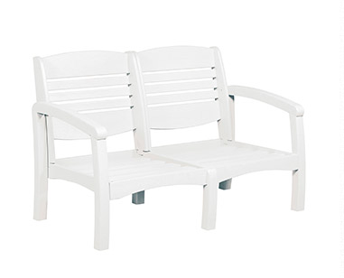 Bay Breeze Coastal Deep Seat Loveseat White #02