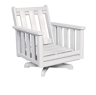 Stratford Deep Seat Swivel Arm Chair White #02