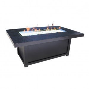 "58"" x 36"" Rectangular Venice Firepit by Cabana Coast - Dark Rum"