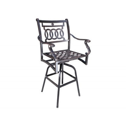 Cabana Coast Verona Dining Swivel Bar Chair - Black