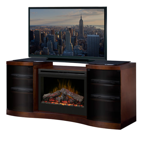 Acton Media Console Electric Fireplace Walnut Finish With Log Set | Patio Palace