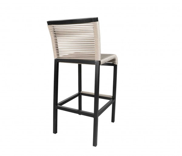 Cabana Coast Bar Stool in Taupe and Weathered. Rope Bar Grouping.