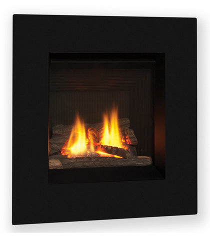Valor Direct Vent Portrait Ledge Series Gas Fireplace - Log Set / Black Surround