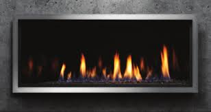 Marquis Linear gas fireplace with dark glass ember bed