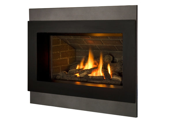 Valor Direct Vent H4 Series Gas Fireplace - Log Set / Black Surround