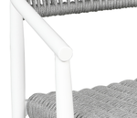Pewter SOL Rope™ on a Tiger Drylac® White aluminum frame. Baybreeze Balcony Stool from Cabana Coast.