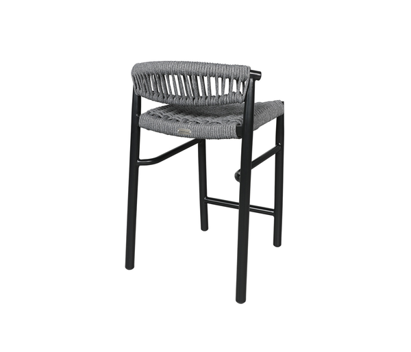 Cabana Coast Balcony Stool. Outdoor Cast Aluminum and Rope Bar Set