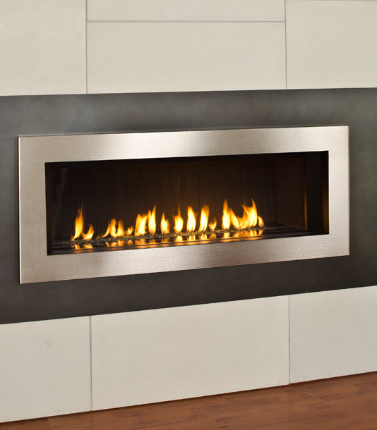 Valor L2 Linear Series Gas Fireplace - Glass Set / Silver Surround