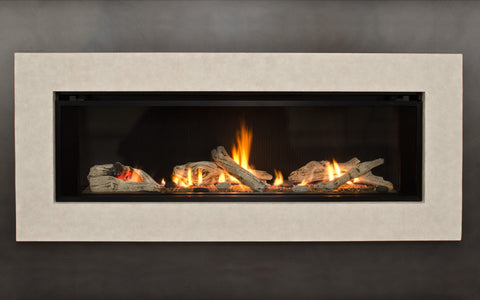 Valor L2 Linear Series Gas Fireplace - Driftwood Set / Silver Surround