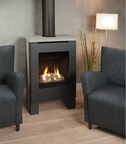 Valour Lift Freestanding Stove Gas Fireplace - Rock Set