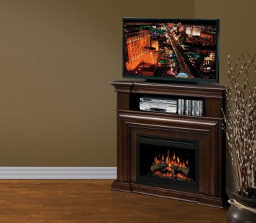 Dimplex Montgomery Media Corner Console Espresso Electric Fireplace With Log Set | Patio Palace