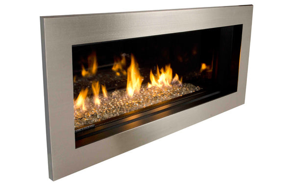 Valor L1 Linear Series Gas Fireplace - Glass Set / Silver Surround