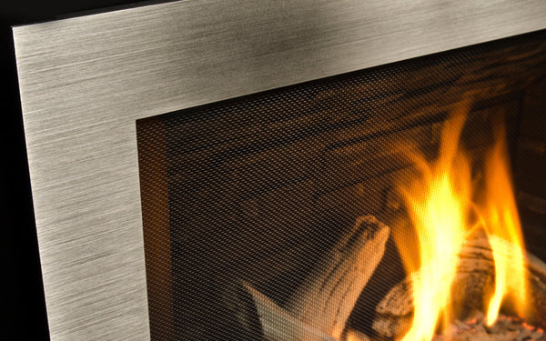 Valor H5 Series Gas Fireplace - Log Set / Silver Surround Close Up