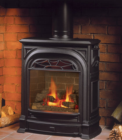 Valor President Freestanding Stove Gas Fireplace - Log Set