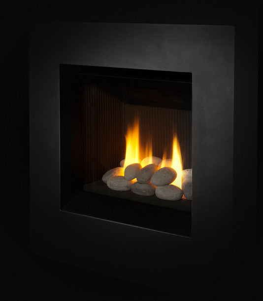 Valor Ledge Portrait Gas Fireplace - Rock Set / Black Surround