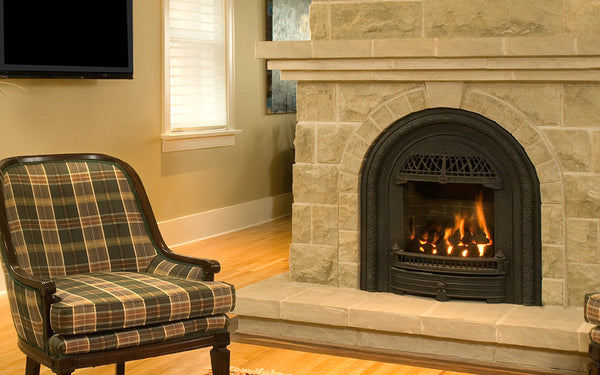 Valor Direct Vent Portrait Windsor Arch Series Gas Fireplace - Log Set