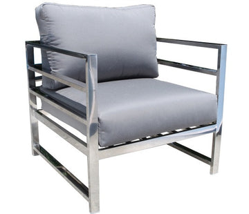 Soho Deep Seat Lounge Chair by Cabana Coast - Stainless Steel