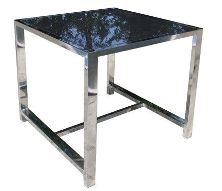 "Cabana Coast Soho Sectional 23"" Square Side Table With Glass - Stainless Steel"