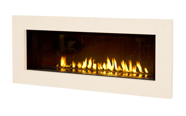 Valor Direct Vent L2 Linear Series Gas Fireplace - Glass Set / White Surround