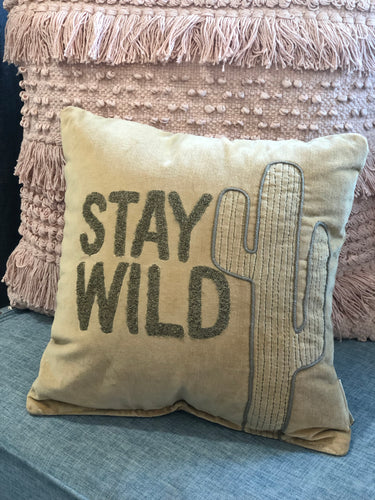 Stay Wild Cactus Pillow