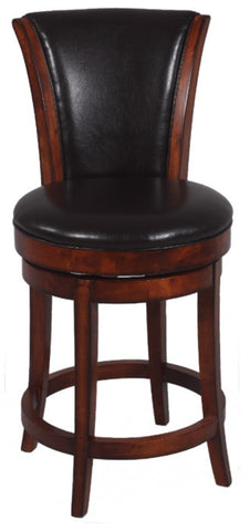 "Chintaly 26"" Swivel Solid Birch Counter Stool Brown 0239-CS"