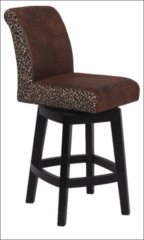 "Chintaly 30"" Swivel Solid Birch Bar Stool Brown/Leopard 0289-BS"