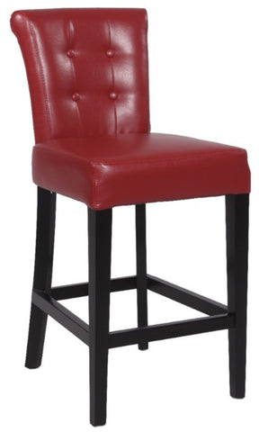 "Chintaly 26"" Stationary Solid Birch Counter Stool Red Bonded 0295-CS"