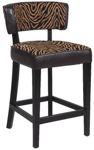 "Chintaly 30"" Stationary Solid Birch Bar Stool Brown/Zebra 0296-BS"
