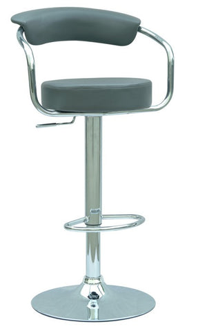 Chintaly Pneumatic Gas Lift Adjustable Height Swivel Stool Dark Grey Pvc 0326-AS-GRY