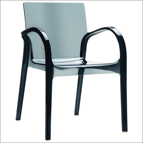 Compamia Dejavu Polycarbonate Arm Chair Transparent Black ISP032-TBLA