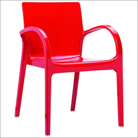 Compamia Dejavu Polycarbonate Arm Chair Glossy Red ISP032-GRED