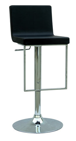 Chintaly Pneumatic Gas Lift Adjustable Height Swivel Stool Black Pu 0351-AS-BLK