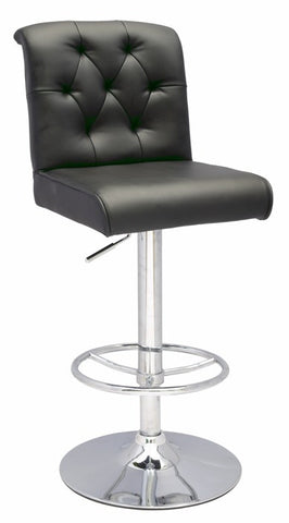 Chintaly Pneumatic Gas Lift Height Swivel Stool Black Pu 0355-AS