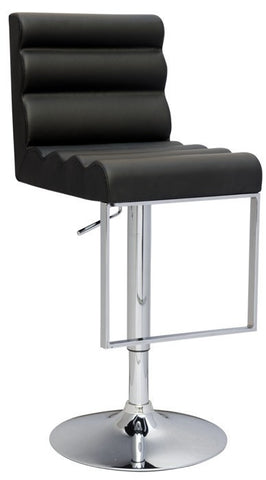 Chintaly Pneumatic Gas Lift Swivel Height Stool Black Pu 0357-AS-BLK