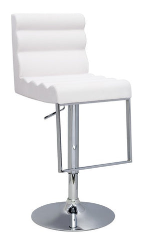 Chintaly Pneumatic Gas Lift Swivel Height Stool White Pu 0357-AS-WHT